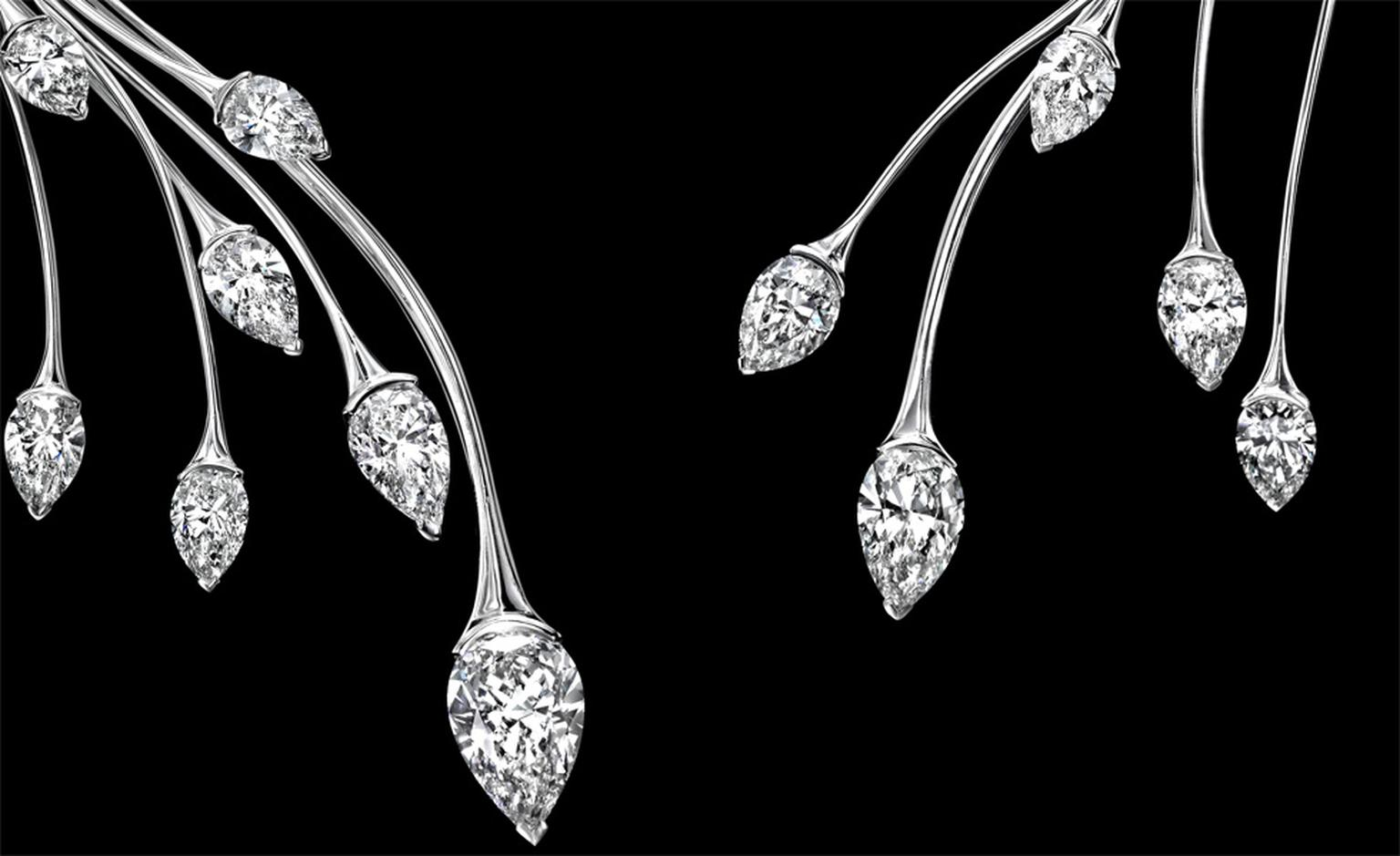 Close up of Sotheby's Diamonds Spray necklace. By setting the diamonds with the point down, they look like buds growing at the tip of a slender branch