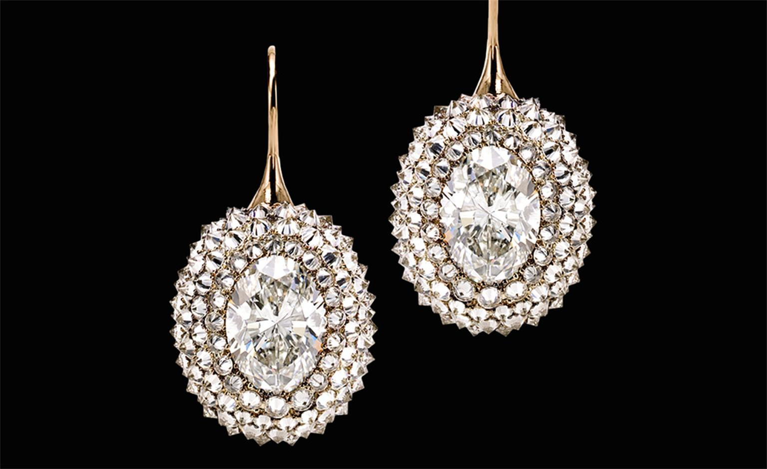 Sotheby's Diamonds Durian Fruit earrings. The smaller diamonds are set upside down so that the pointed ends are facing out. The effect is one of rich texture and intense fire.