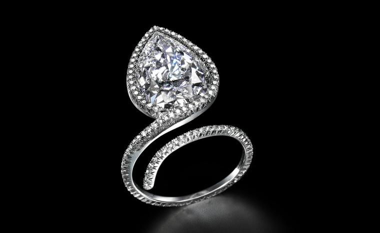 Sotheby's Diamonds ring by James de Givenchy. This ring can be worn upside down with the diamond sitting over the back of the hand.