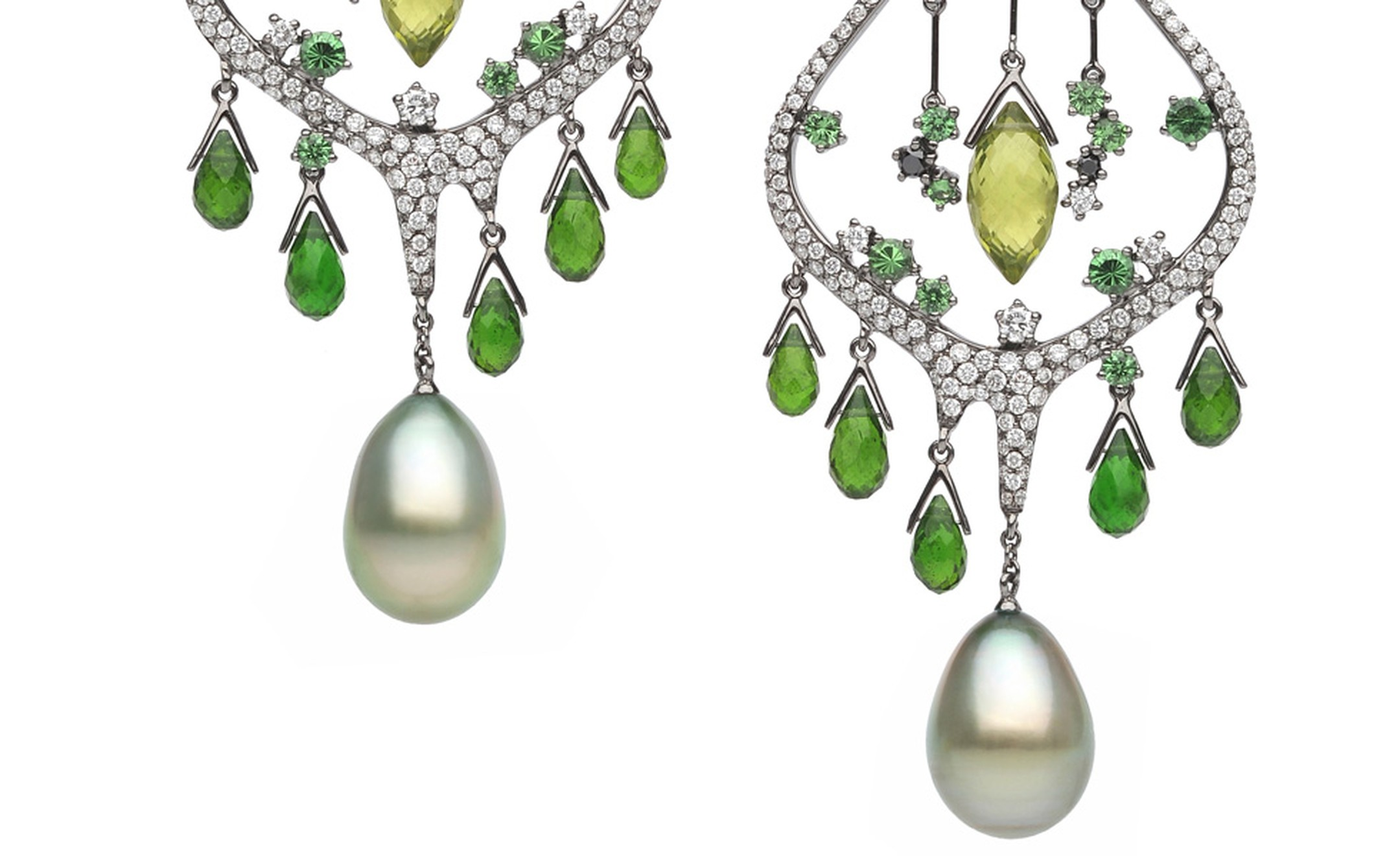 Tender green buds pierce through the thaw are the inspiration for these Autore, Fire & Ice Advent of Spring earrings in white gold, with Tahitian South Sea pearls, tsavorite garnets, chrome diopside, peridot and black and white diamonds. $62,000 AUD