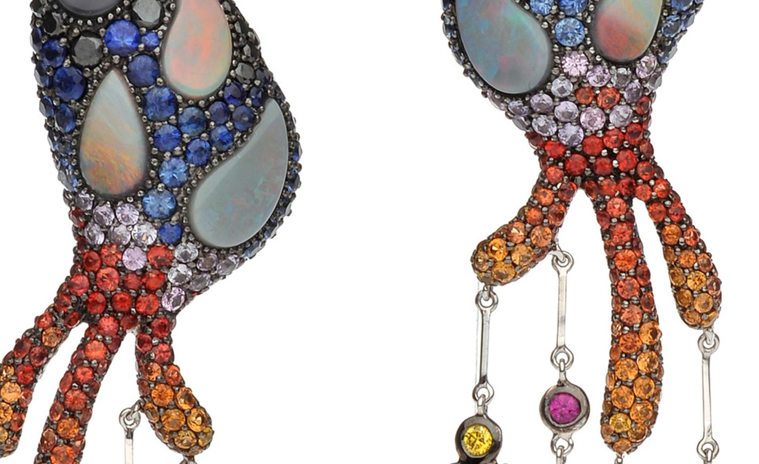 Autore, Fire & Ice Santorini Earrings in white and rose gold with Other-wordly opals and red hot orange and yellow sapphires make unlikely combinations in these Autore earrings. $55,000 AUD