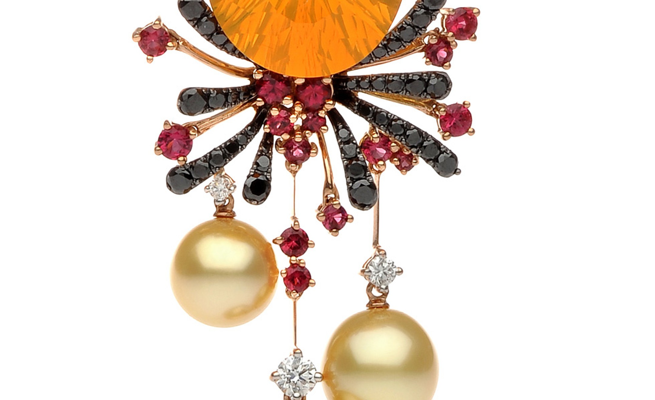 Close up of the Autore, Fire & Ice Fiery Lava rose gold, South Sea pearl, red spinel, fire opal, and black and white diamond necklace. $65,000 AUD