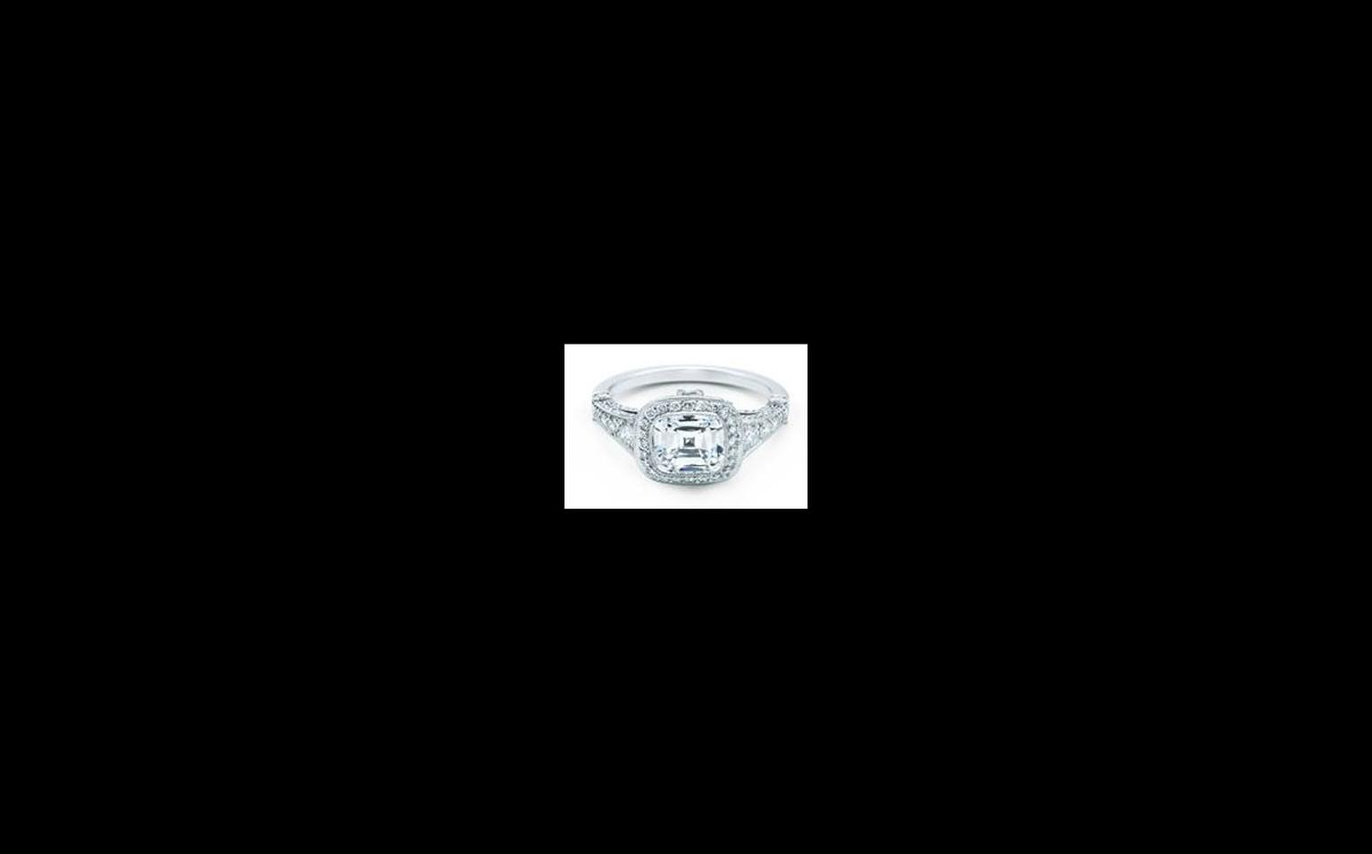 Tiffany Legacy diamond ring with 5.13 carats diamond as worn by Anne Hathaway at the Oscars. The ring is worth US$285,000.