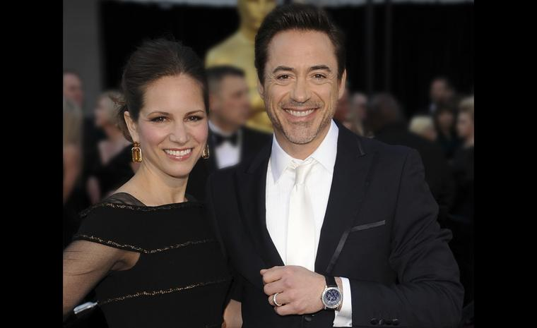 "Robert Downey Jr wears a white gold Van Cleef & Arpels ""Midnight in Paris' watch set with 96 baguette diamonds. Photo by Steve Granitz Getty Images"