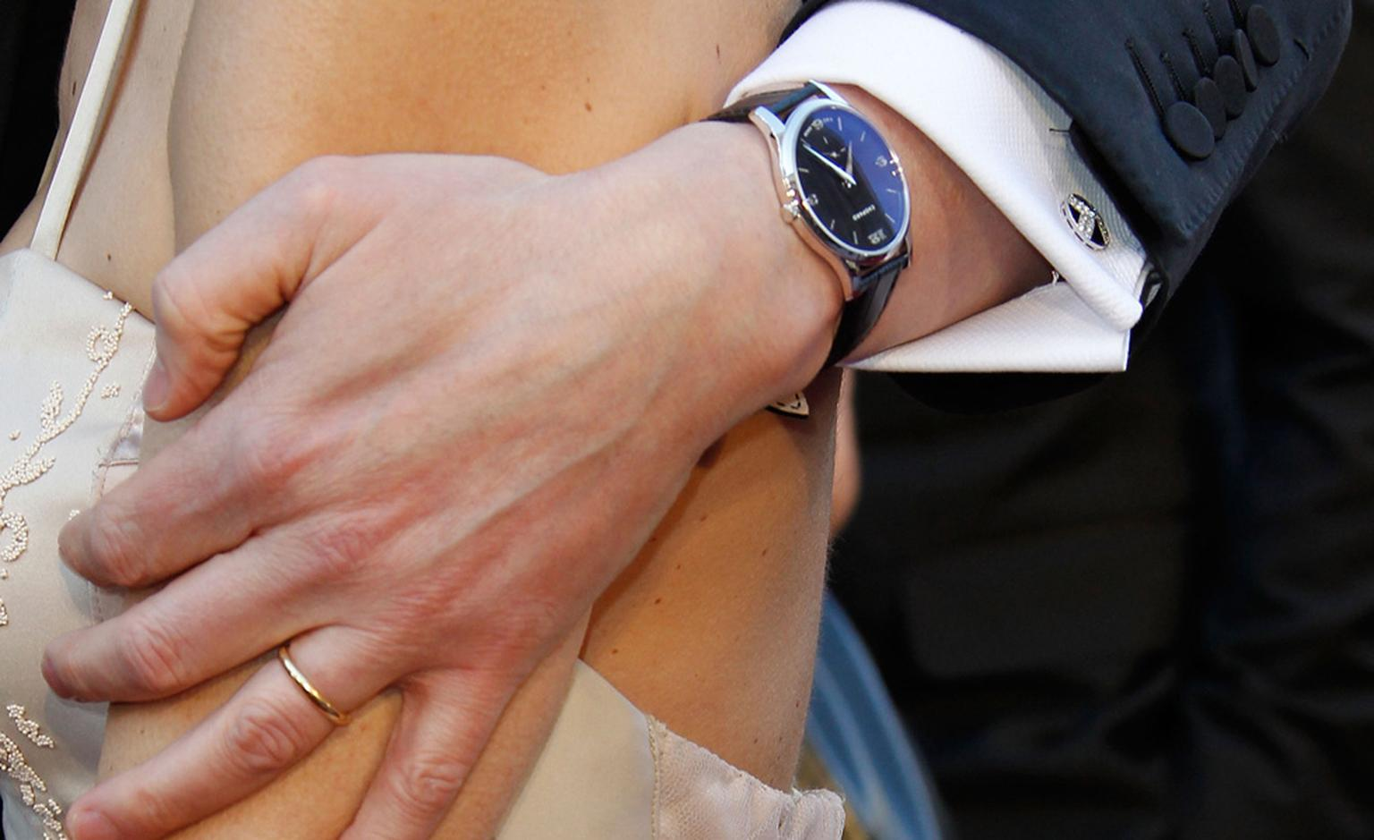 Close up of the the Chopard's L.U.C. XPS white gold watch as worn by Colin Firth to collect his award at the Oscars 2011