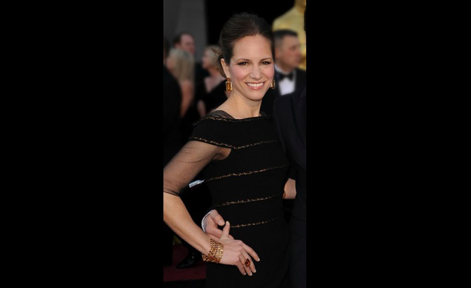 SUSAN DOWNEY wears Style of Jolie citrine tablet earrings, ring and bracelet designed by Angelina Jolie and created by Robert Procop. Proceeds from the sale of these jewels go towards Angelina's charity The Education Partnership for Children of ...