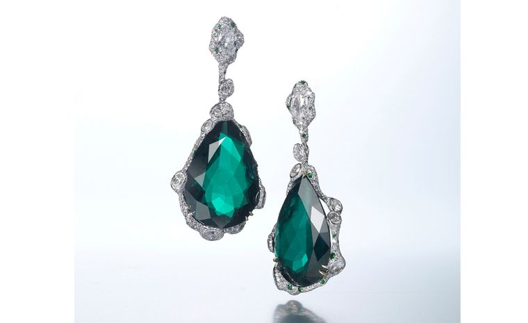 CINDY CHAO, The Art Jewel, Black Label Masterpiece Emerald Drop EarringsDrop earrings with emerald (63cts) highlighted by diamonds set in 18kt white gold. From ?1,025,200