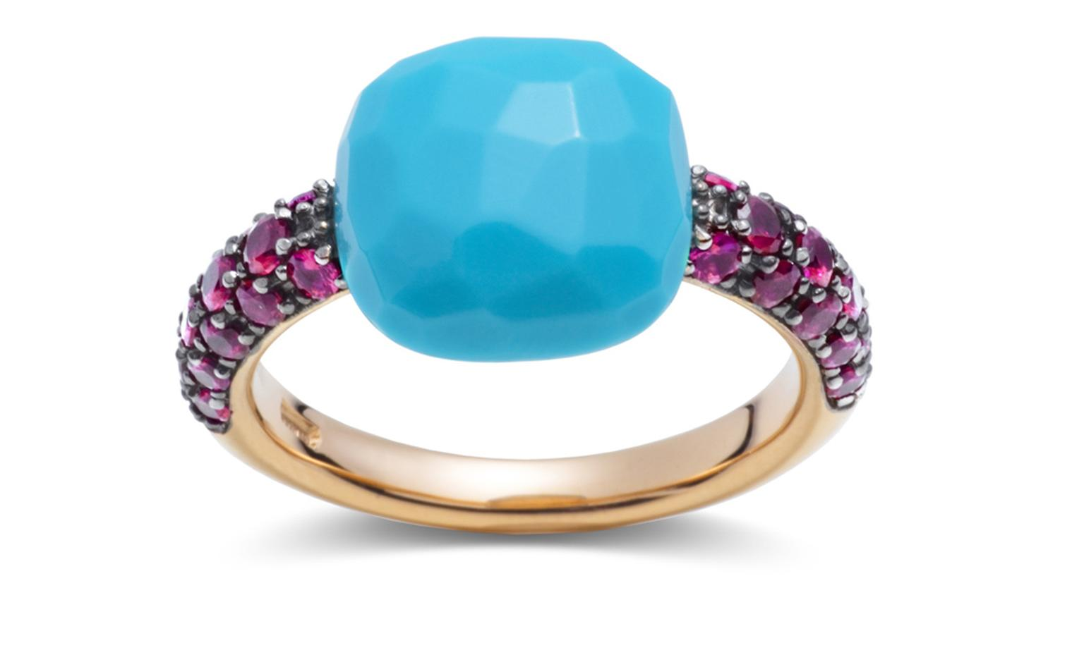 POMELLATO, Capri ring, rose gold with turquoise and rubies. £2,045