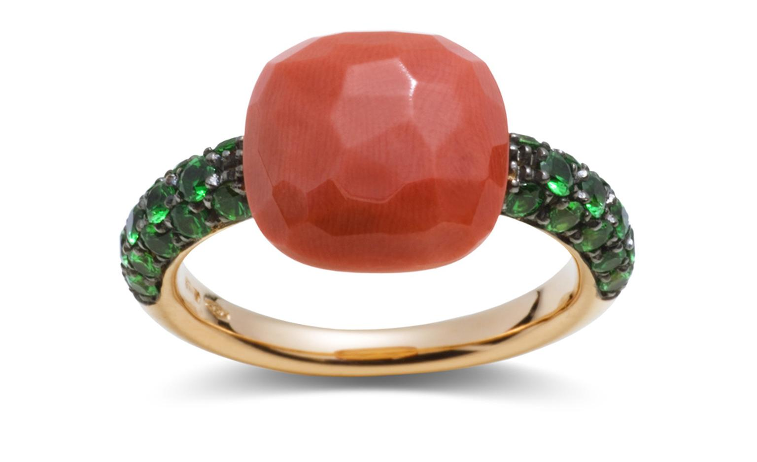 POMELLATO, Capri ring in rose gold with coral and tsavourites. £2,750