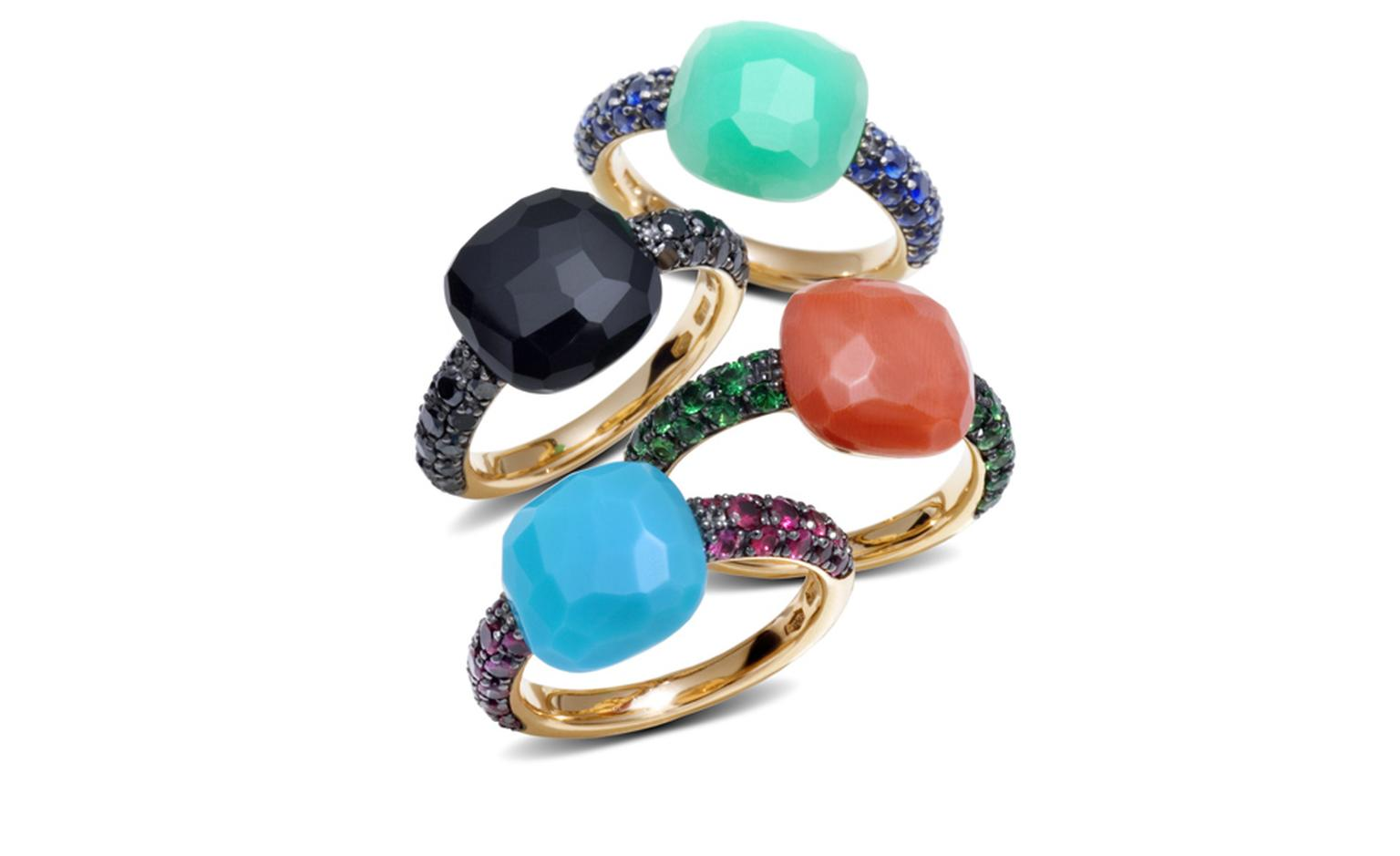 POMELLATO, Capri rings in rose gold turquoise and rubies, onyx and brown diamonds, coral and tsavorites, chrysoprase and blue sapphires. Starting from £1,770
