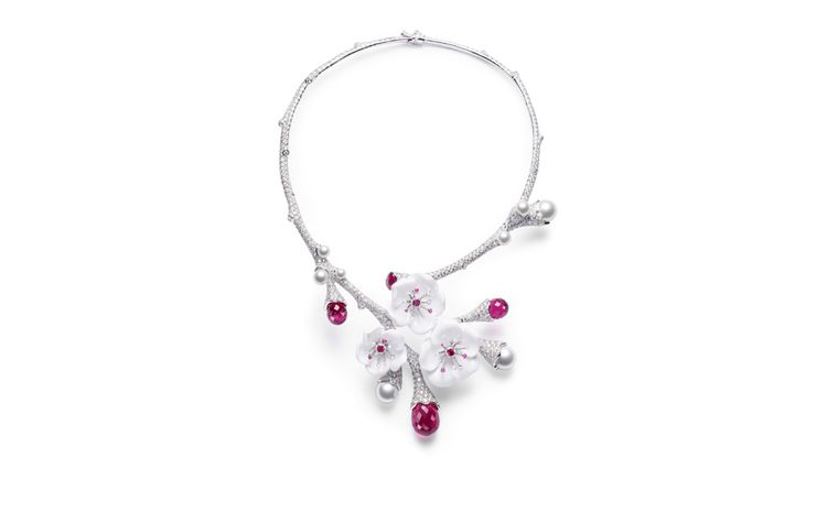 PIAGET, Limelight Garden Party, white diamonds, pink sapphires, pink tourmalines, white chalcedony and pearls. POA