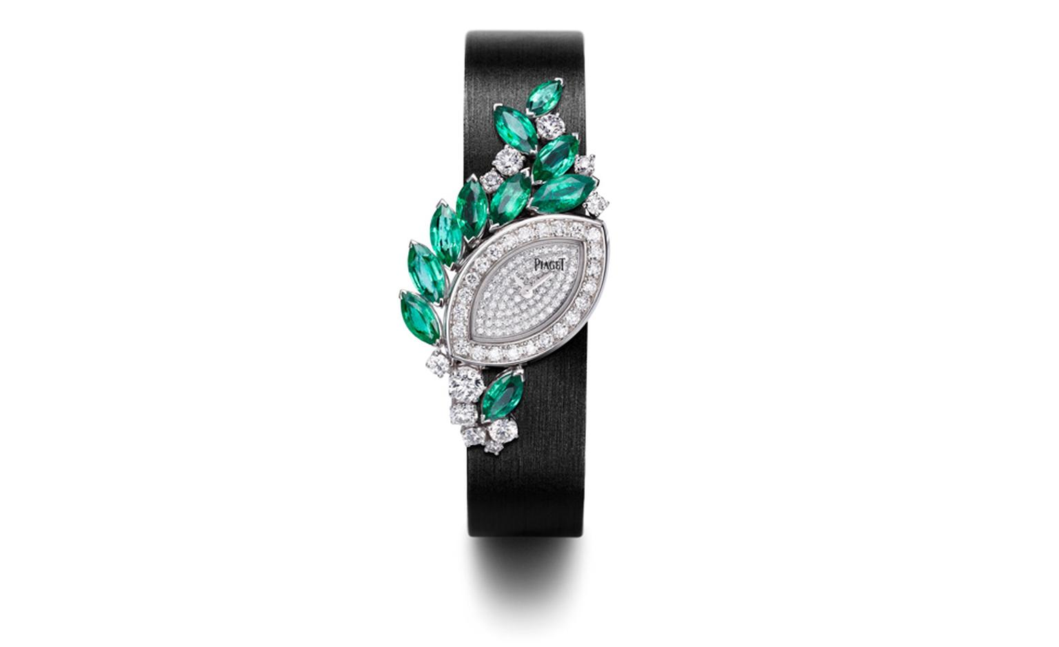 PIAGET, Limelight Garden Party, white gold case set with diamonds and emeralds, diamond paved dial set with diamonds. Piaget quartz movement, white gold folding clasp set with diamonds and black satin trap. POA