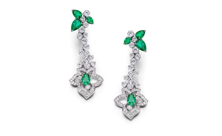PIAGET, Limelight Garden Party, white gold earrings set with diamonds, emeralds and 6 pear-shaped emeralds