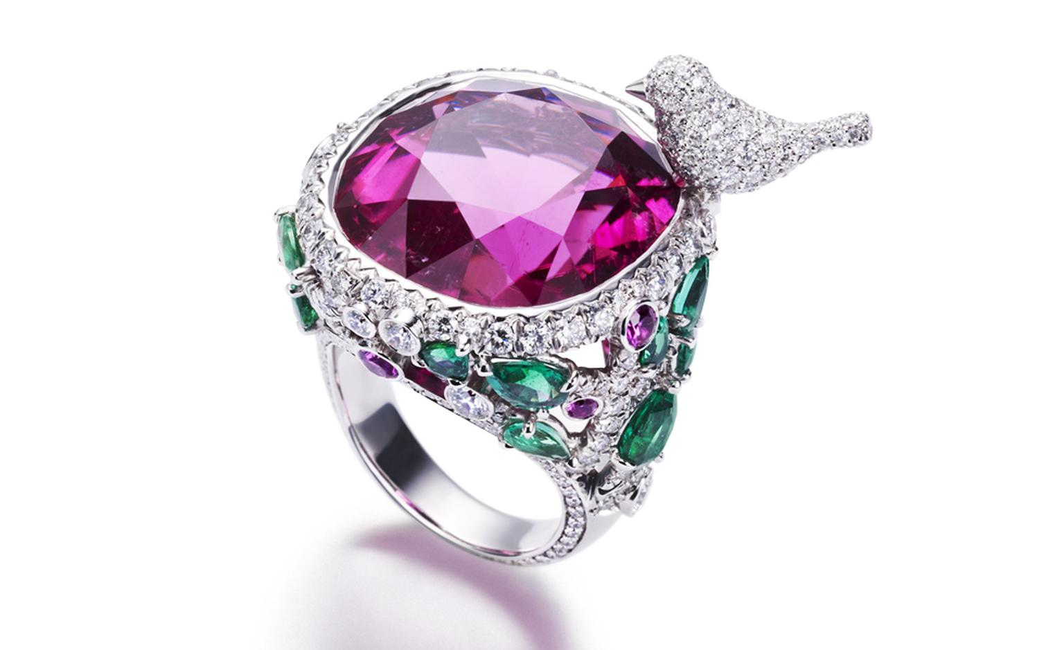 PIAGET, Limelight Garden Party, white gold gold ring set with diamonds, emeralds, rubellite and pink sapphires. POA