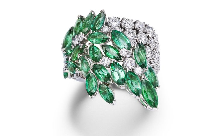 PIAGET, Limelight Garden Party, White gold ring set with  diamonds and emeralds. POA
