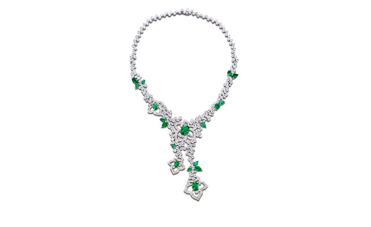 PIAGET, Limelight Garden Party, White gold necklace set with diamonds and emeralds. POA