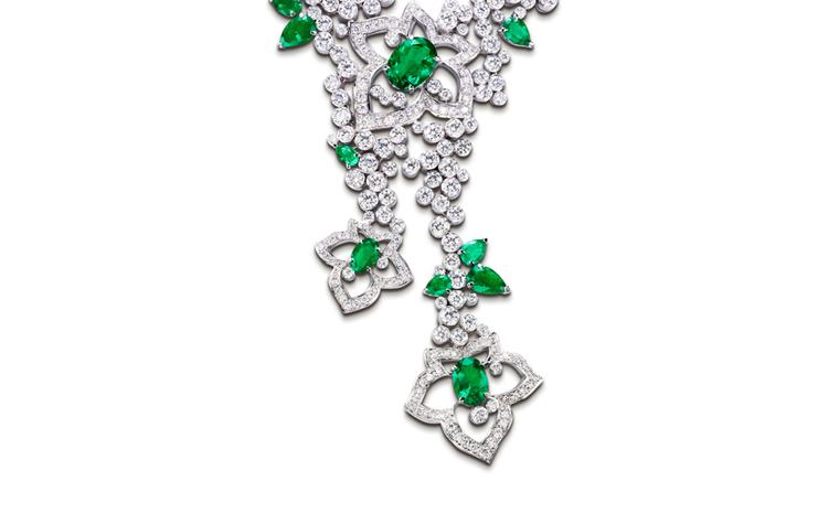PIAGET, Limelight Garden Party, close up of white gold necklace set with diamonds and emeralds. POA