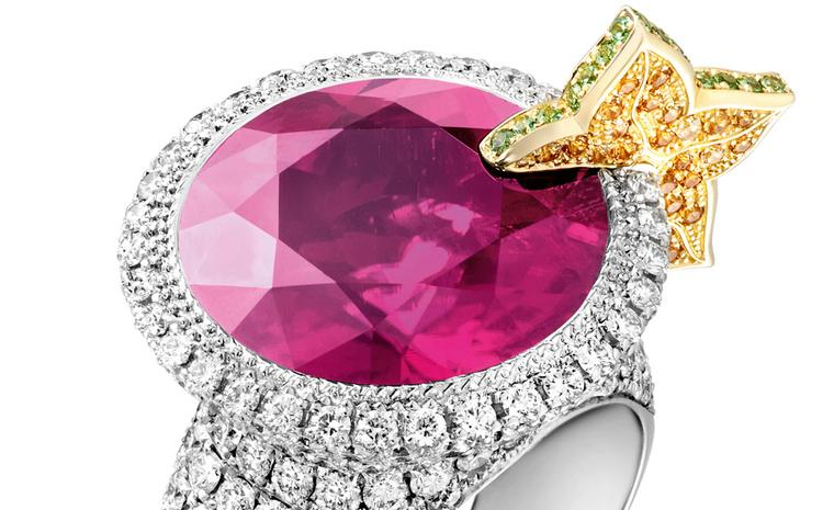 PIAGET, Limelight Cocktail inspiration, Close up of the Cosmopolitan Ring in white gold with diamonds, pink rubellite and citrine. POA