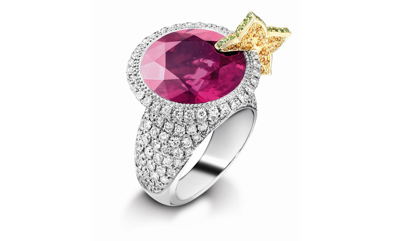 PIAGET, Limelight Cocktail inspiration, Cosmopolitan Ring in white gold with diamonds, pink rubellite and citrine. POA