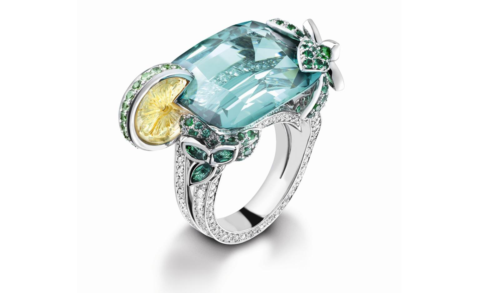 PIAGET, Limelight Cocktail inspiration, Mojito ring in white gold with diamonds and green tourmaline, citrine, tsavorites and emeralds. POA