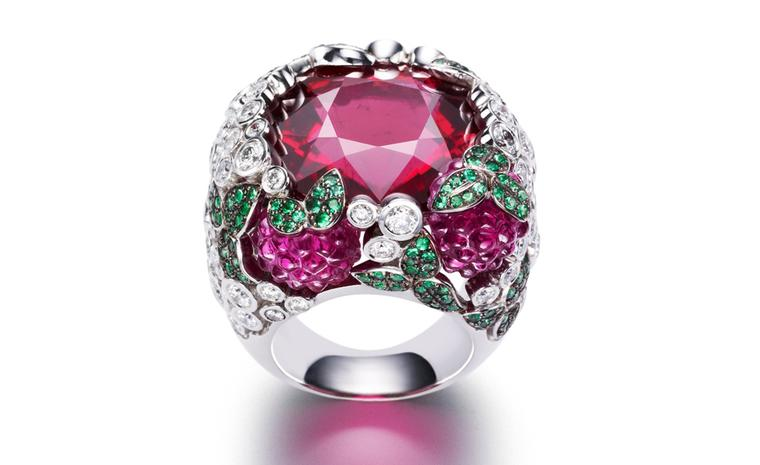 PIAGET, Limelight cocktail inspiration, Raspberry Daiquiri ring in white gold and diamonds, emeralds and rubellite. POA
