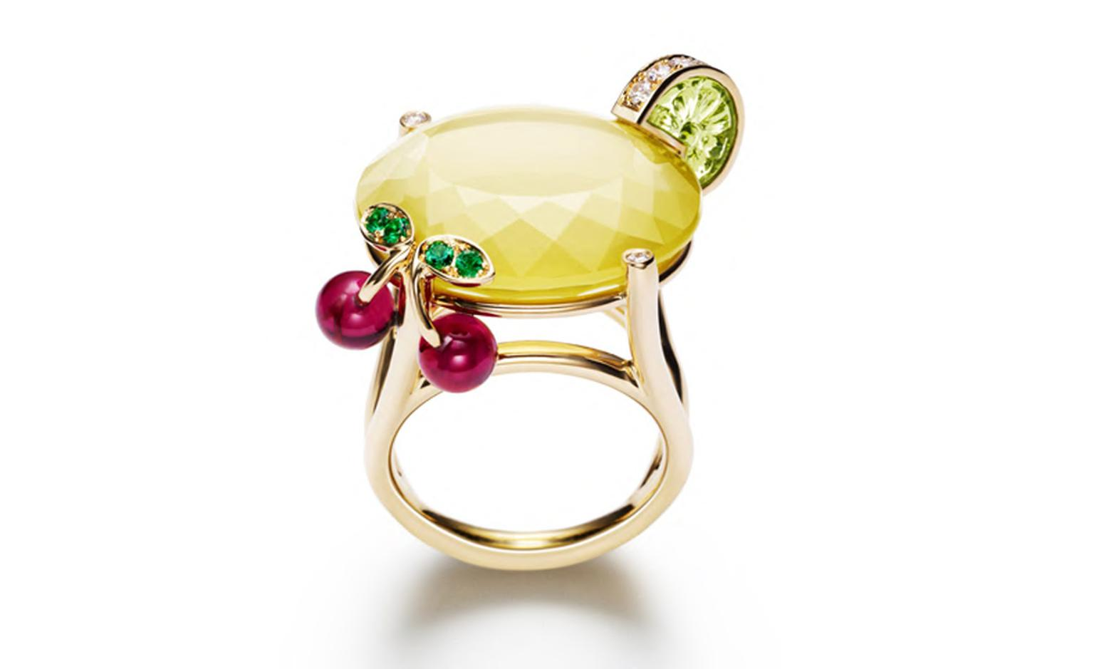 PIAGET, Limelight cocktail inspiration, Lemon Fizz ring, inspiration in white gold and diamonds, peridot, yellow quartz, emeralds and rubellites. POA