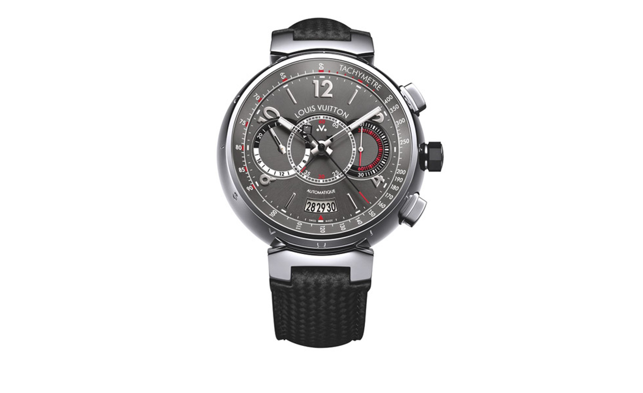 VUITTON, Voyagez Tambour Automatic Chronograph watch with a tachymeter. Set in a 44mm wide Tambour style case, the Voyagez is in steel with a gray and red dial with black and white trim. The dial design uses three middle aligned subdials for the...