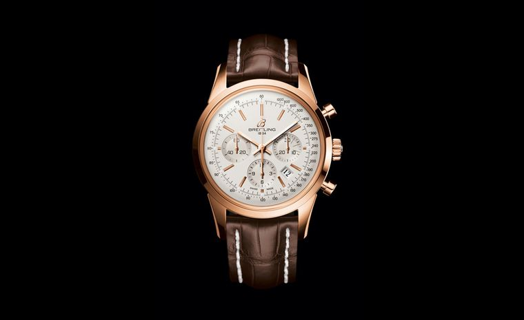 Breitling Transocean chronograph in rose gold returns to the classic good looks of the Martini days of flying in the 1950's when stewardesses were as glamorous as the passengers and pilots were the heroes of the day.