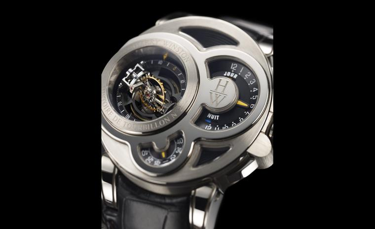 Harry Winston Histoire de Tourbillon presents another twist in the winding tale of the tourbillon. This bi-axial tourbillon appears to float as it is anchor is invisible.