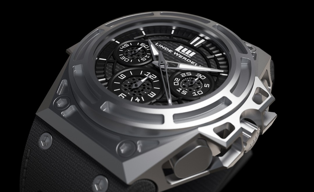 Linde Werdelin's SpidoSpeed has a skeletonised case that despite its unusual structure is resilient and also very light. This watch, like all Linde Werdelin models, is designed to receive a computer module that clips on top to monitor conditions.
