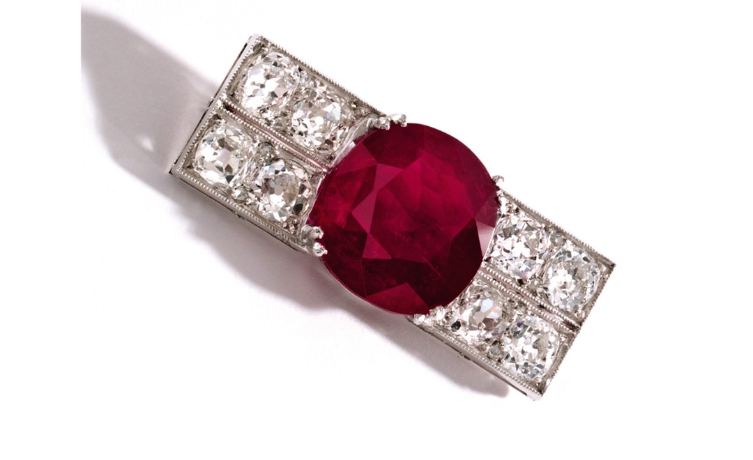 Lot 357 Platinum, Ruby and Diamond Brooch, Chaumet, France, Circa 1920 Est. $800,000/1.2 million. SOLD FOR $50,000
