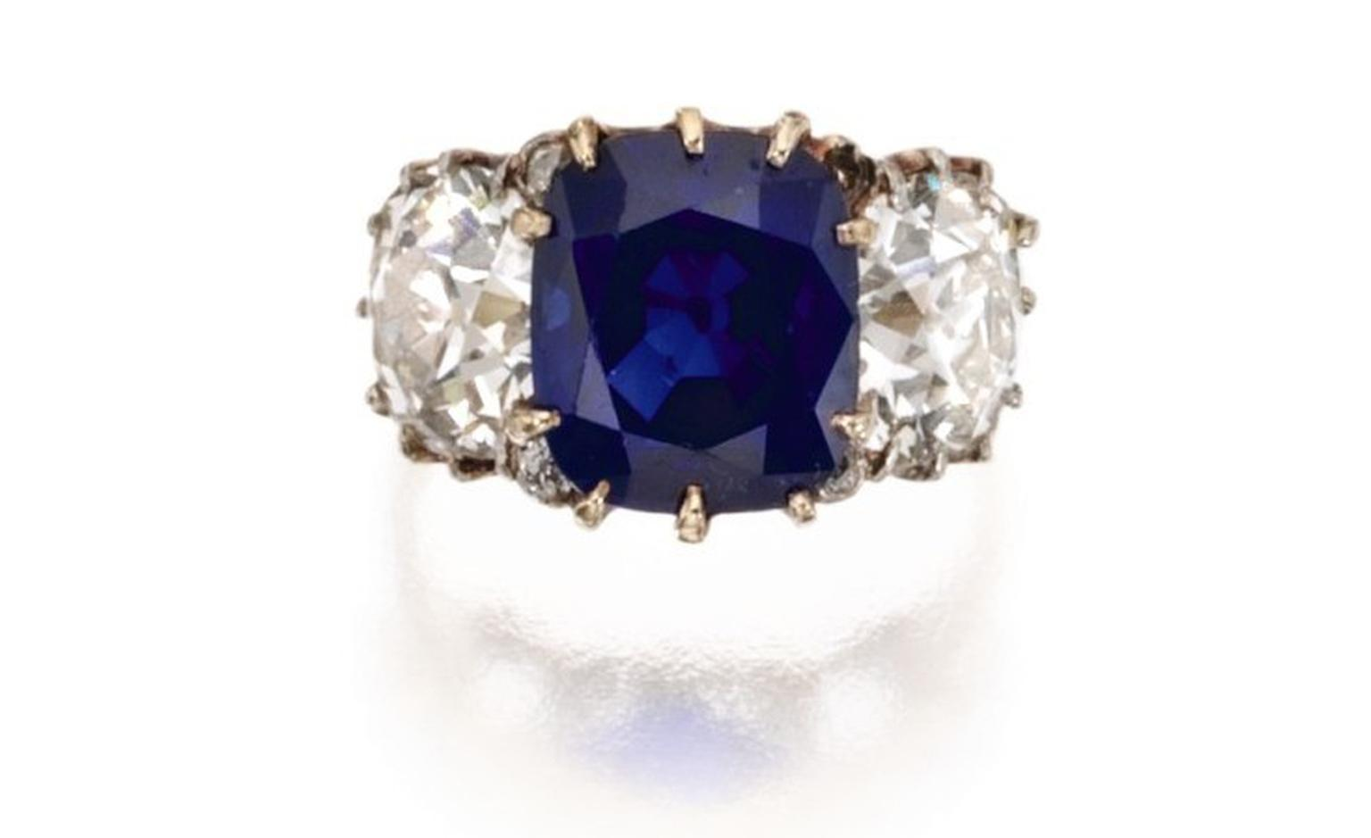Lot 186 Gold, Platinum, Sapphire and Diamond Ring, Circa 1900 Est. $125/150,000. SOLD FOR 458,500