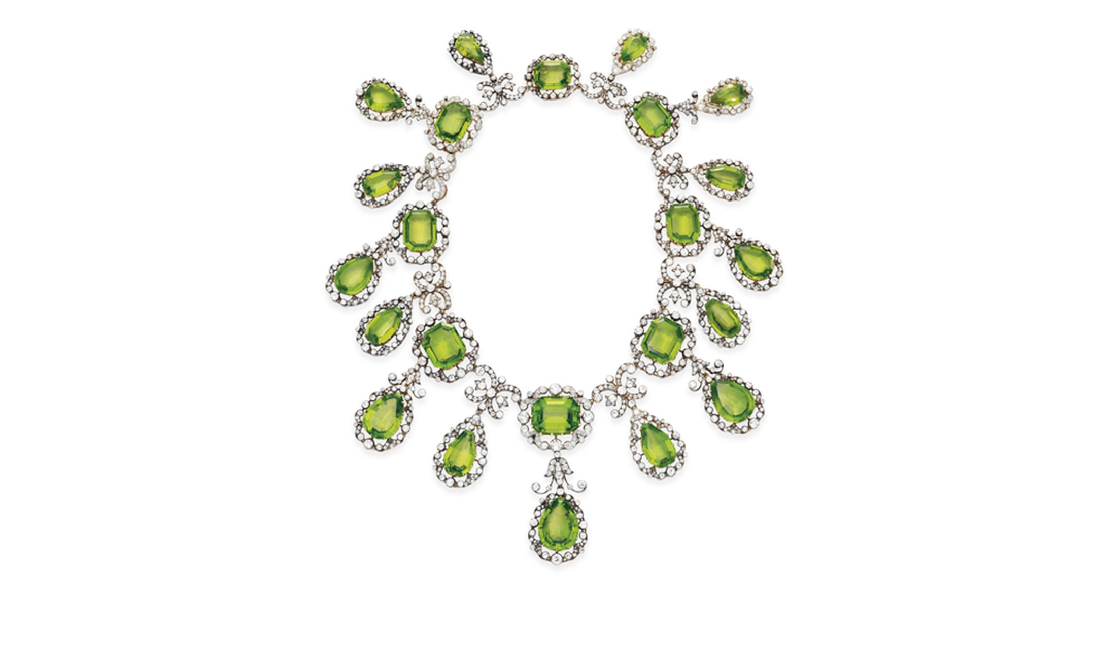 Lot 227, AN ANTIQUE PERIDOT AND DIAMOND NECKLACE. Estimate $250,000 - 350,000 U.S. dollars. SOLD FOR $302,500. Christie's Images Ltd. 2010
