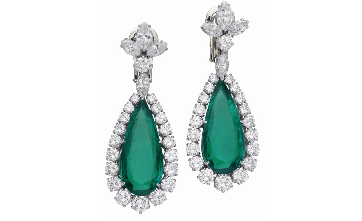 Bulgari Emerald earrings that were part of a parure by Bulgari and given to Elizabeth Taylor by Richard Burton
