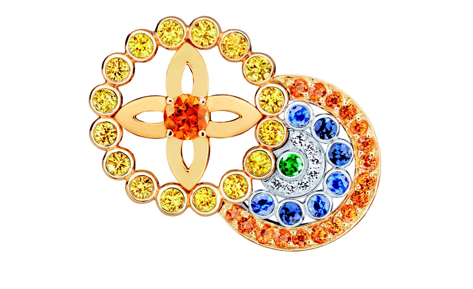LOUIS VUITTON, Ornament Tribal Ring, yellow gold, blue, yellow and pink sapphires, spessartite and tsavorite garnets, diamonds. £5,600