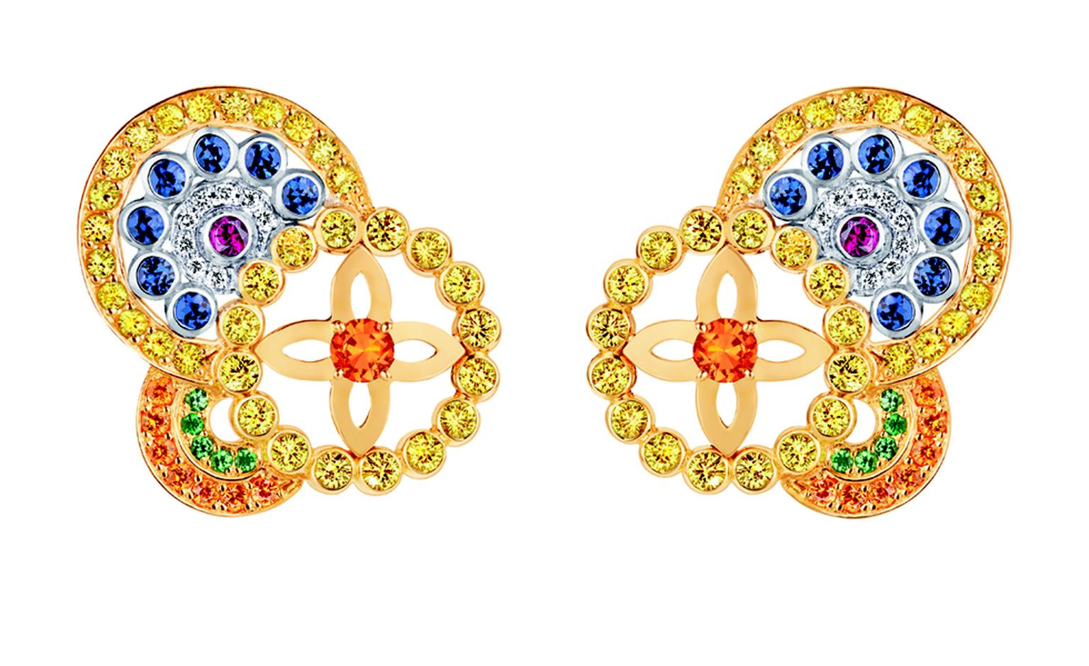 LOUIS VUITTON, Ornament Tribal Earrings, yellow gold, blue, yellow and pink sapphires, spessartite and tsavorite garnets and diamonds. £10,200