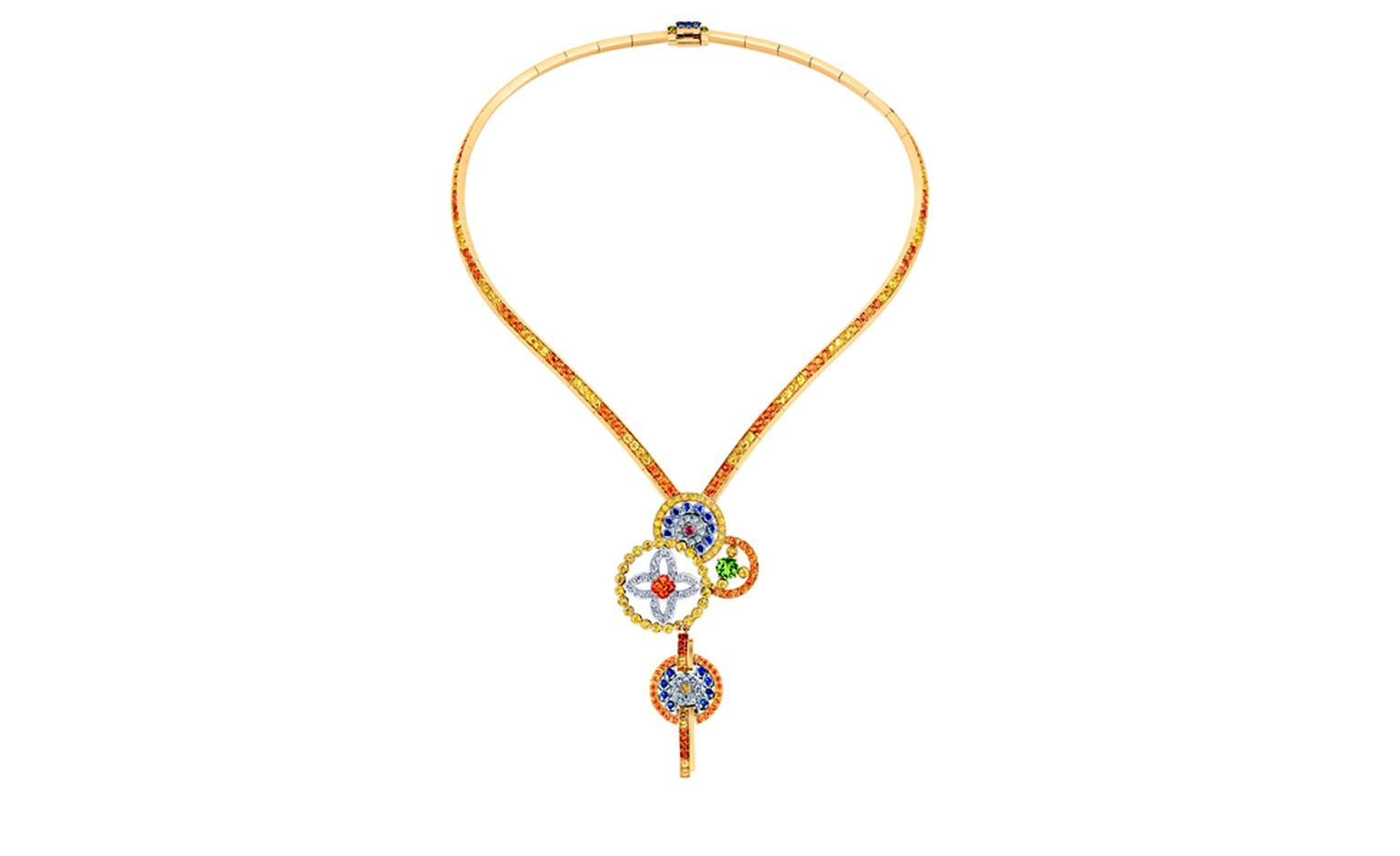 LOUIS VUITTON, Ornament Tribal Necklace, yellow gold, blue, yellow and pink sapphires, spessartite and tsavorite garnets and diamonds. £43,500