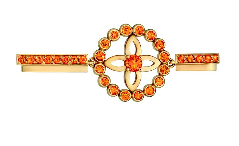 LOUIS VUITTON, Small Ornament Tribal Pendant, yellow gold and spessartite garnets. £2,990
