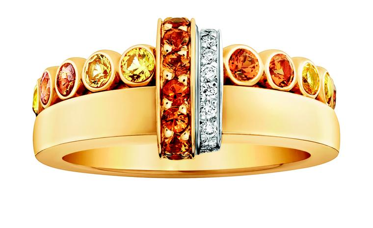 LOUIS VUITTON, Small Ornament Tribal Ring, yellow gold, yellow sapphires, spessartite garnets, diamonds. £2,810