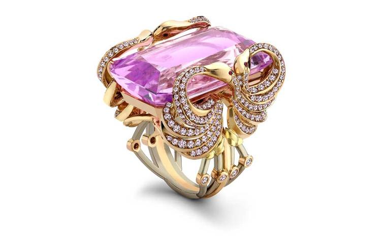 BOODLES, Flamingo. A flamingo design ring comprised of an emerald cut morganite of over 46cts within a pink diamond set 18ct rose gold and platinum setting. £160,000