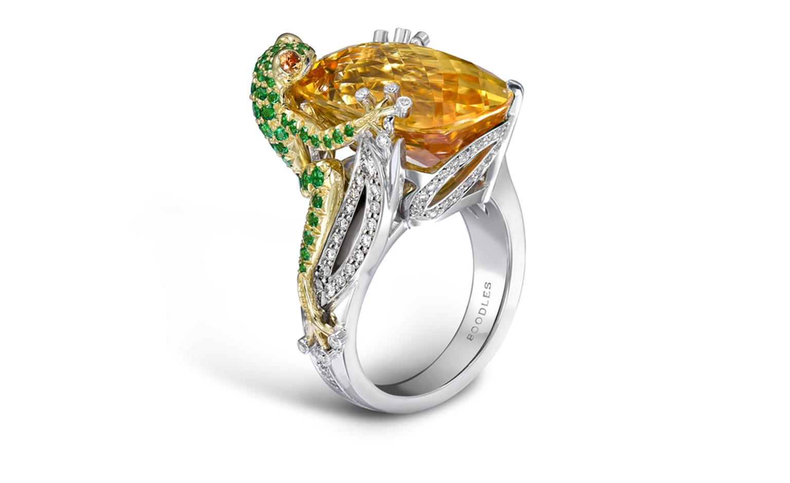 BOODLES, Yellow Frog. An imperial topaz frog design ring in platinum and 18ct yellow gold.  The centre stone is over 17cts.  His body is encrusted with tourmaline stones. £34,500