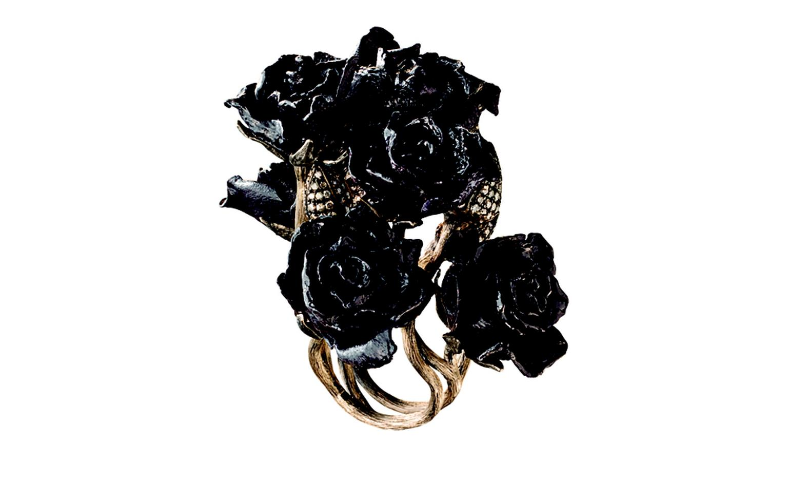 H STERN, Rose Garden ring, the roses in Alice's garden are now sculptured in Noble Gold, and thanks to the finish in enamel, gain a tone of dark purple, which contrasts with delicate buttons sprinkled with diamonds. £26,500