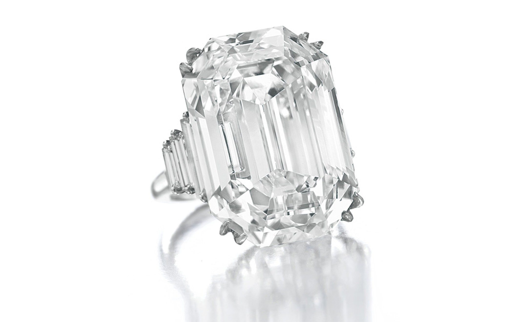 Lot 272 White diamond ring, 37.16 carats. Type IIa stone, D colour and internally flawless. Estimate $4,200,000 to $4,800,000. SOLD FOR $4.450,500. Christie's images Ltd. 2010