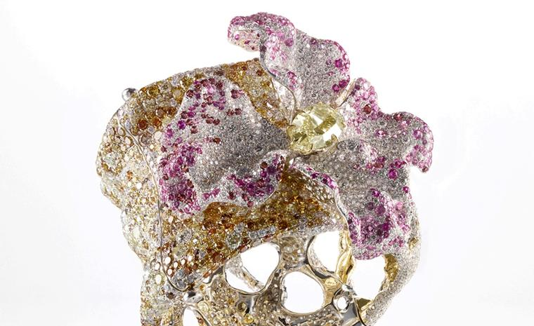 Cindy Chao The Art Jewel, Black Label Masterpiece, Solstice Cuff in the form of a bejewelled azalea set with diamonds, rubies, pink sapphires and rhodolites. The jewel sold at Sothby's Hong Kong sale for US $465,000