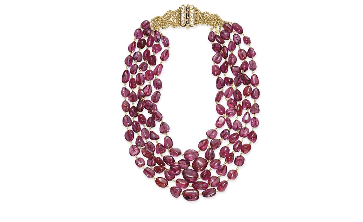 LOT 133 AN ANTIQUE SPINEL, DIAMOND AND ENAMEL NECKLACE   North Indian, circa 1900, 18 ins. Estimate $100,000-$150,000