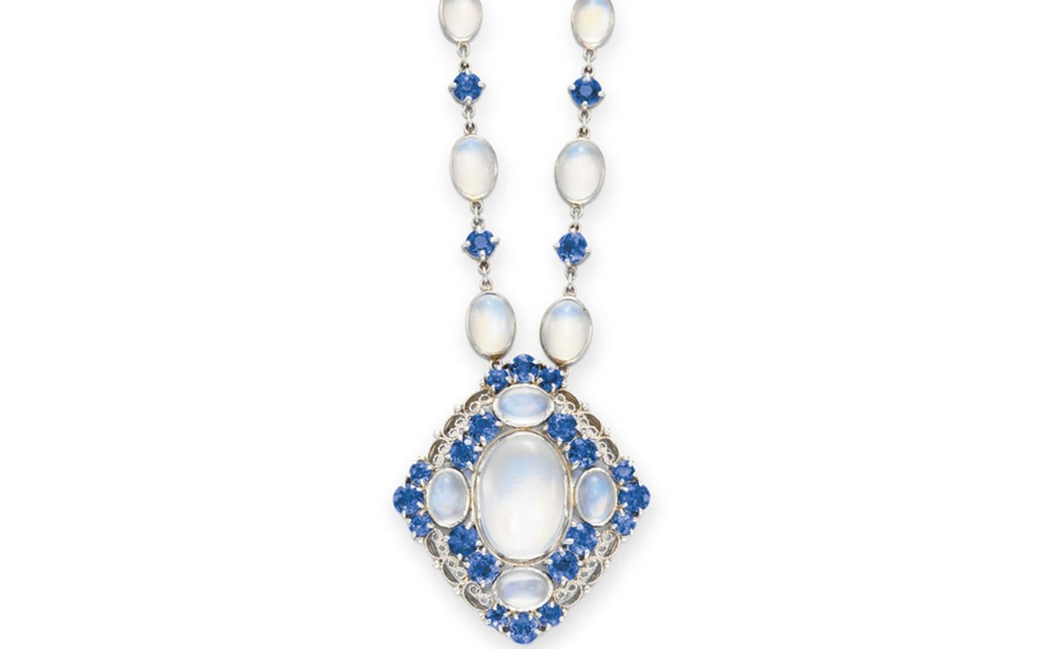 LOT 49 A MOONSTONE AND SAPPHIRE NECKLACE, BY LOUIS COMFORT TIFFANY, TIFFANY & CO. S circa 1915, 16½ ins. (backchain of later addition) By Louis Comfort Tiffany, signed Tiffany & Co. Estimate $10,000-$15,000 SOLD FOR $40,000