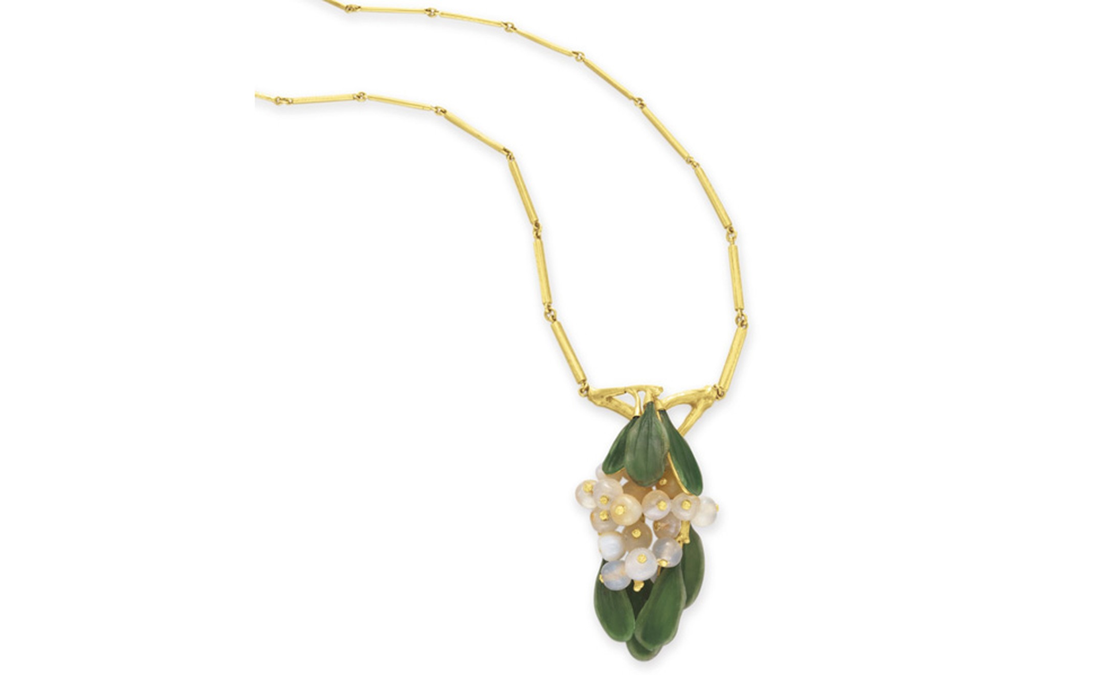 "LOT 51 A COLORED GLASS AND GOLD ""MISTLETOE"" PENDANT NECKLACE, BY LOUIS COMFORT TIFFANY, TIFFANY & CO. By Louis Comfort Tiffany, signed Tiffany & Co., marked PP no. 5 for the Panama-Pacific International Exposition Estimate $15,000-$20,000 SOLD F..."
