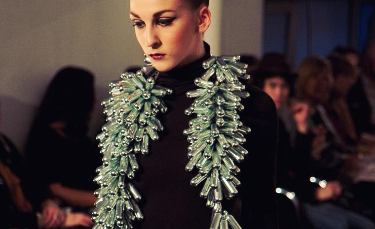 From Central St Martin's BA Jewellery show of Sustainable jewellery. Designer: Fern Jelleyman Material: Gas canisters. Photo: Sam Davies