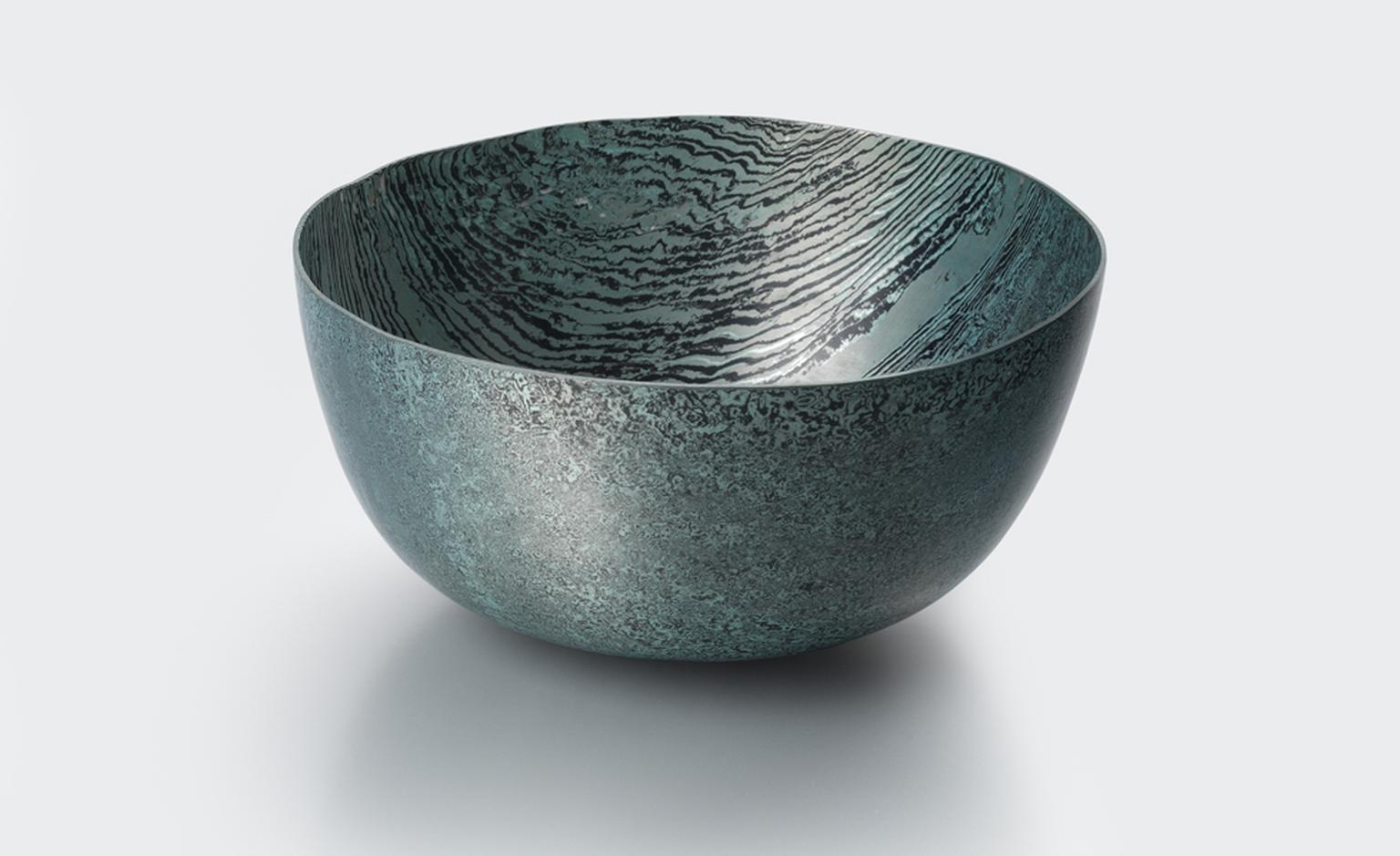 """Mokume Gane Bowl"" by Alistair McCallum, 2010 Hand raised Mokume Gane bowl made from 128 layers of silver and gilding metal."