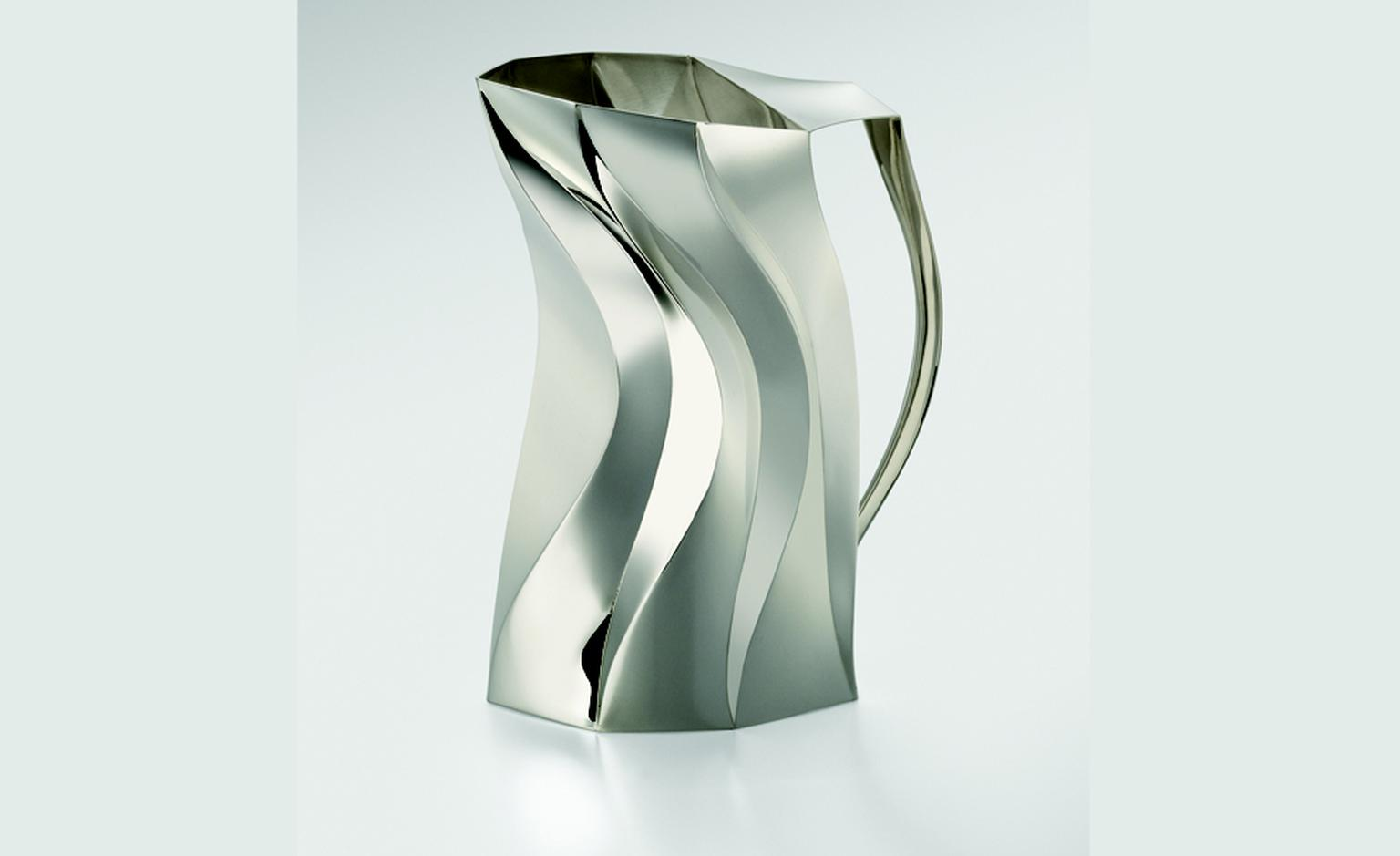 """Liner Jug"" by Toby Russell, 2010 Sterling silver - scored and folded by hand from flat sheet."